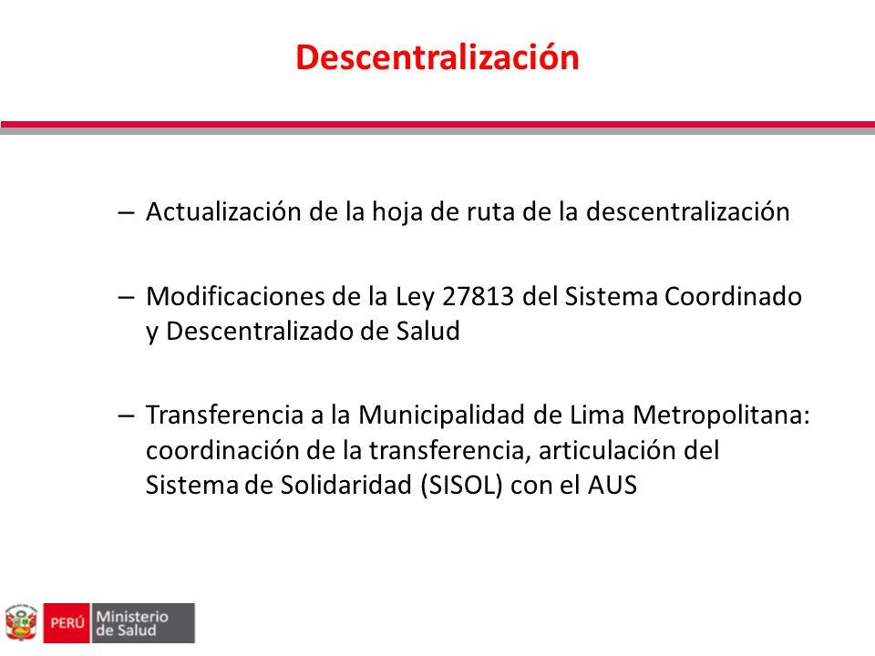 Descentralización Actualización de la hoja de ruta de la descentralización.