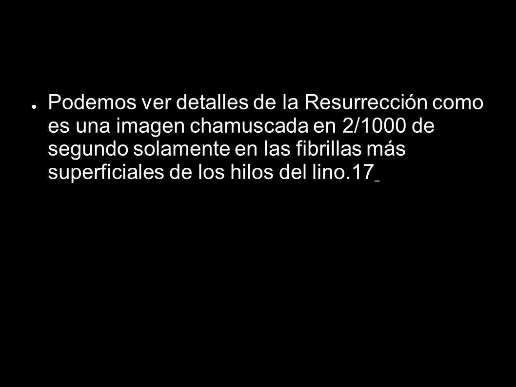 Podemos ver detalles de la Resurrección como es una imagen chamuscada en 2/1000 de segundo solamente en las fibrillas más superficiales de los hilos del lino.17