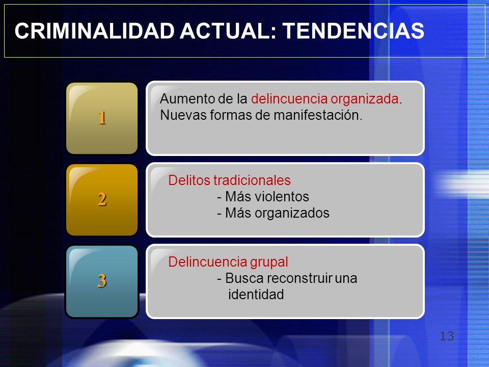 CRIMINALIDAD ACTUAL: TENDENCIAS