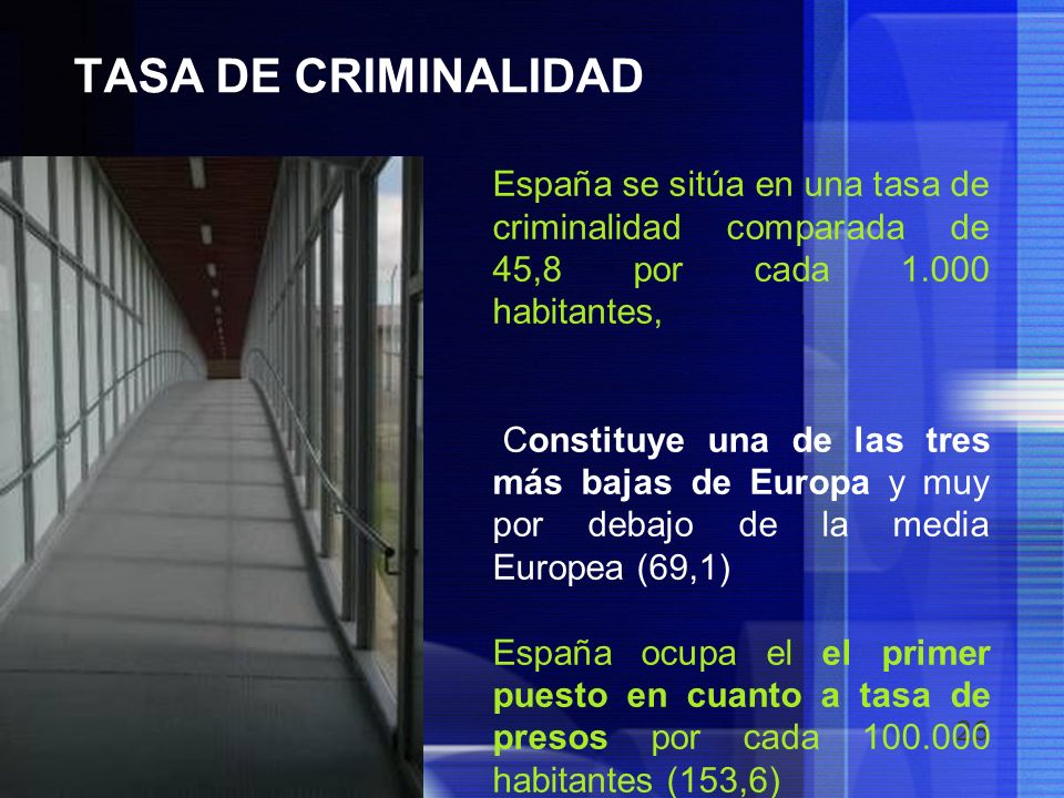 TASA DE CRIMINALIDAD España se sitúa en una tasa de criminalidad comparada de 45,8 por cada 1.000 habitantes,