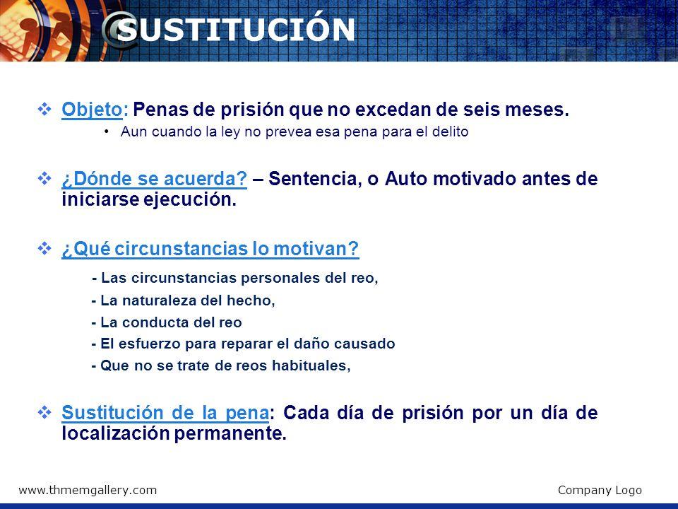 SUSTITUCIÓN Objeto: Penas de prisión que no excedan de seis meses.