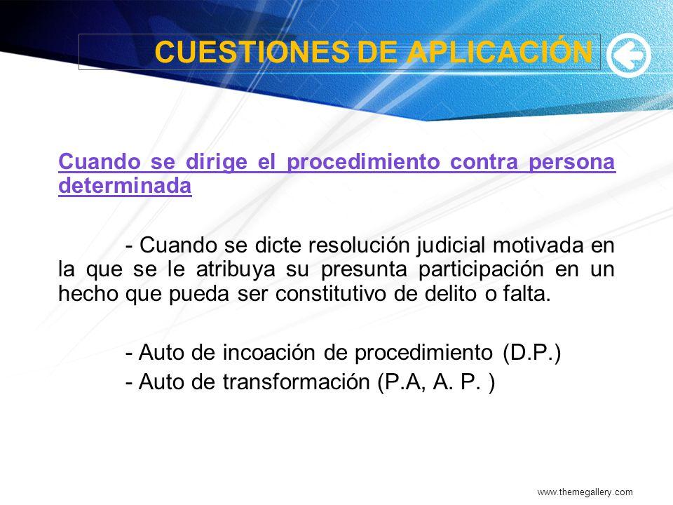 CUESTIONES DE APLICACIÓN
