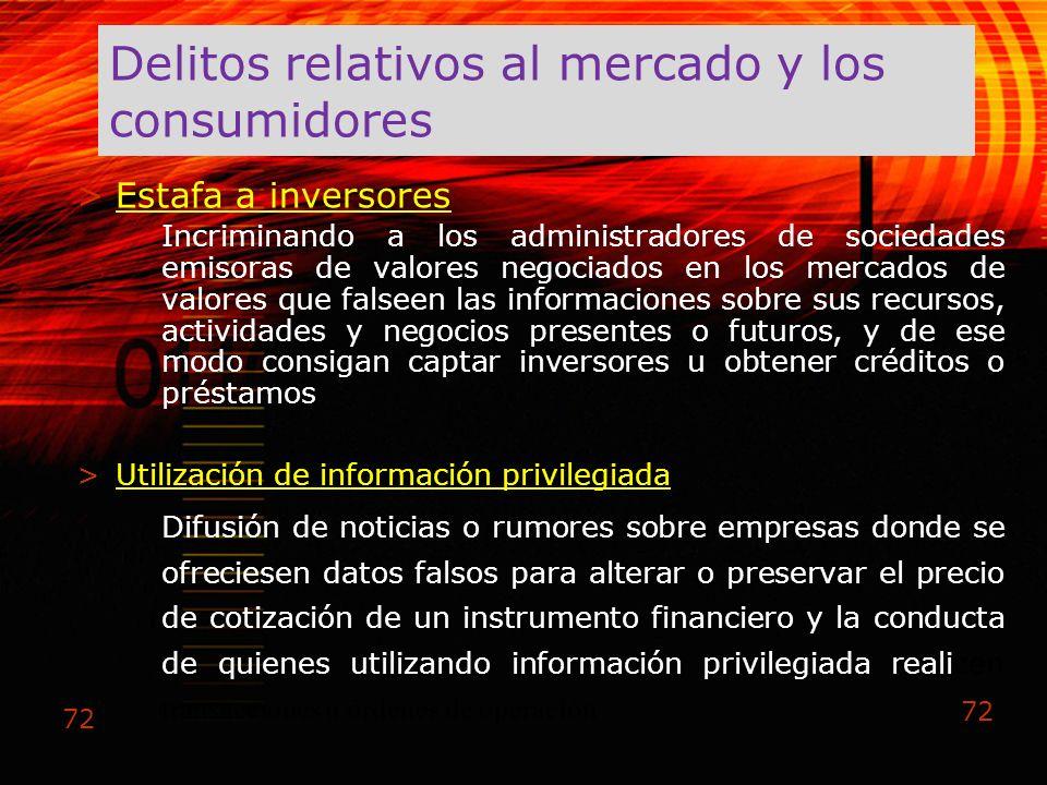 Delitos relativos al mercado y los consumidores