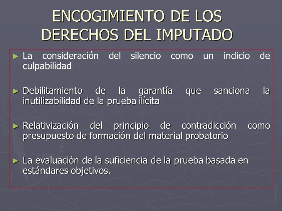 ENCOGIMIENTO DE LOS DERECHOS DEL IMPUTADO