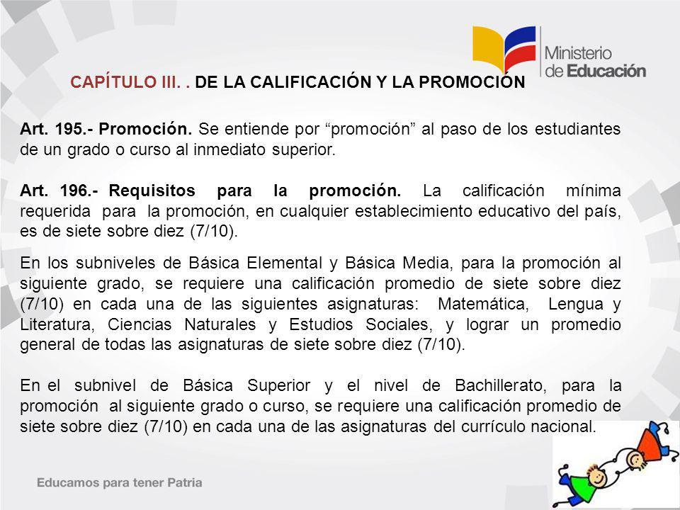 CAPÍTULO III. . DE LA CALIFICACIÓN Y LA PROMOCIÓN
