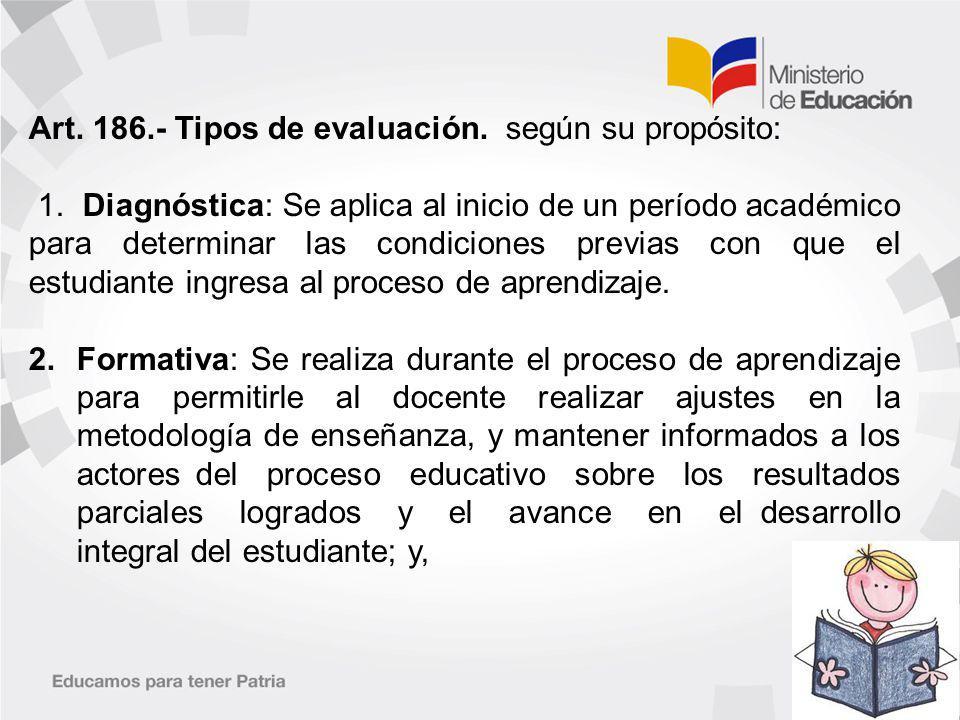 Art. 186.- Tipos de evaluación. según su propósito: