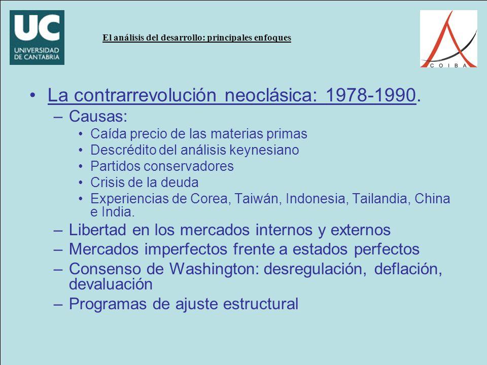 La contrarrevolución neoclásica: 1978-1990.