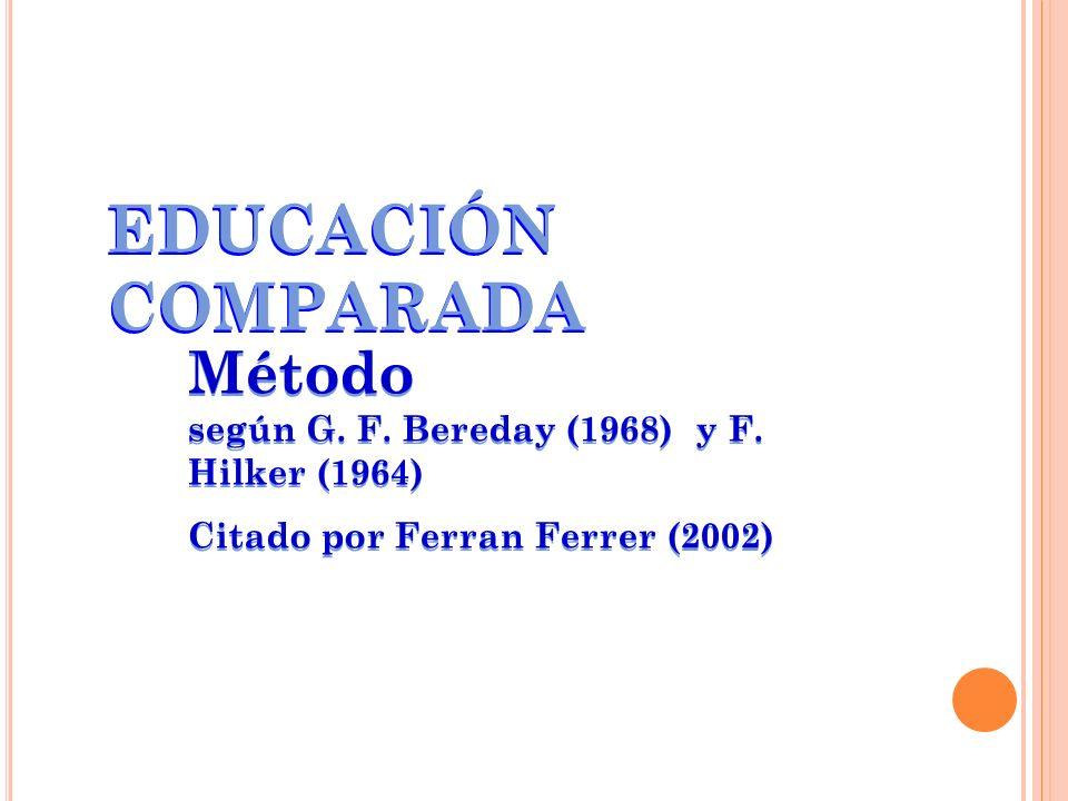 EDUCACIÓN COMPARADA Método según G. F. Bereday (1968) y F. Hilker (1964)