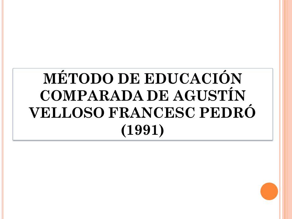 MÉTODO DE EDUCACIÓN COMPARADA DE AGUSTÍN VELLOSO FRANCESC PEDRÓ (1991)