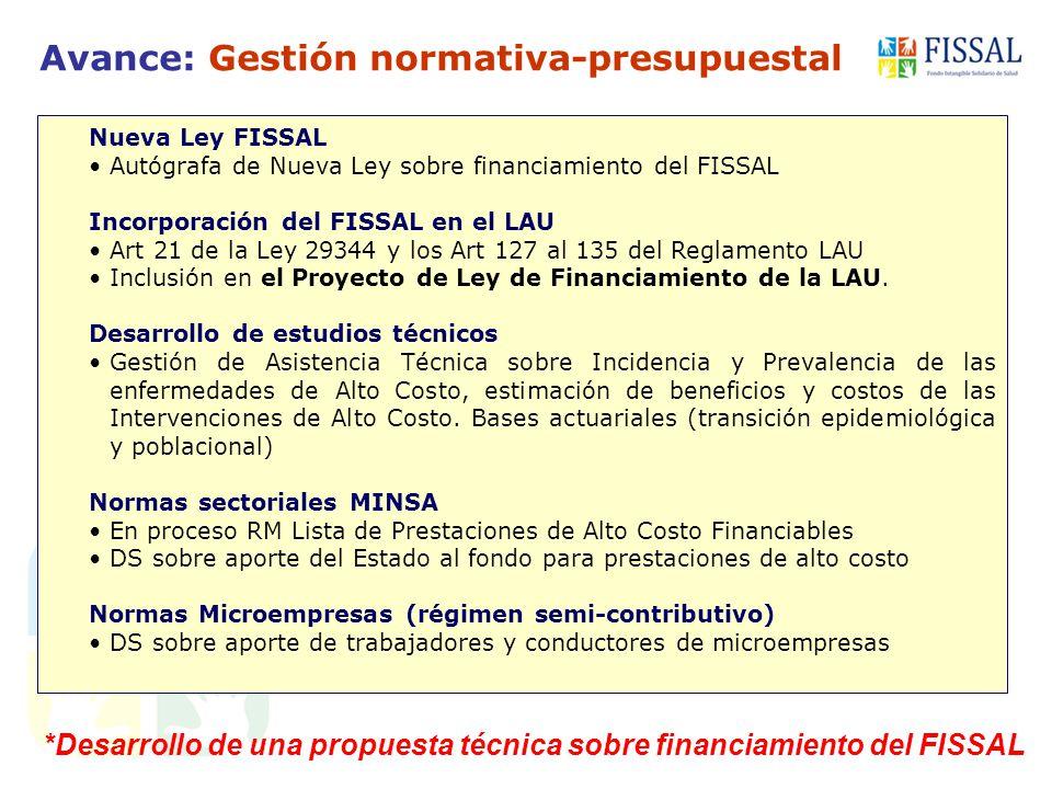 *Desarrollo de una propuesta técnica sobre financiamiento del FISSAL