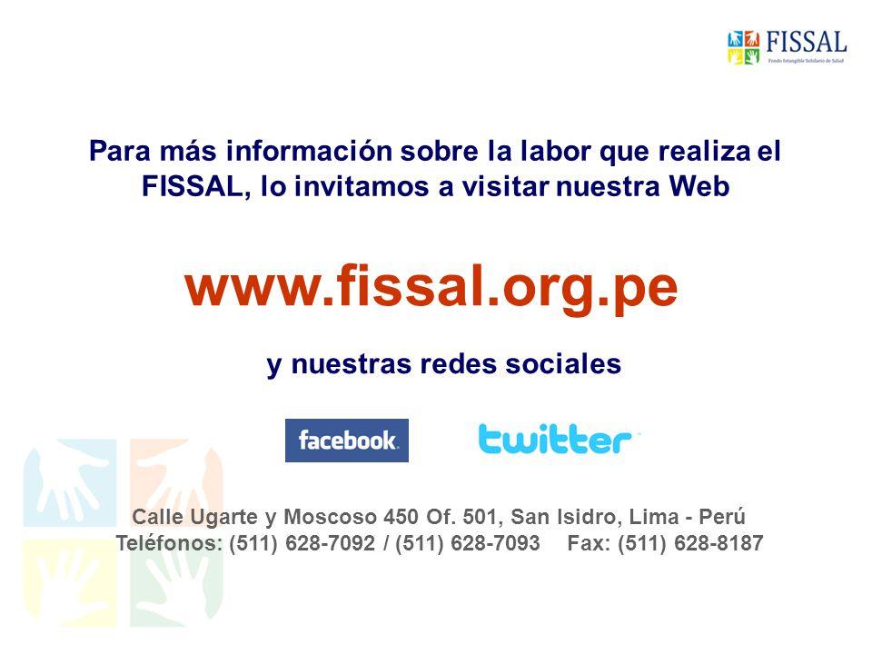 Para más información sobre la labor que realiza el FISSAL, lo invitamos a visitar nuestra Web