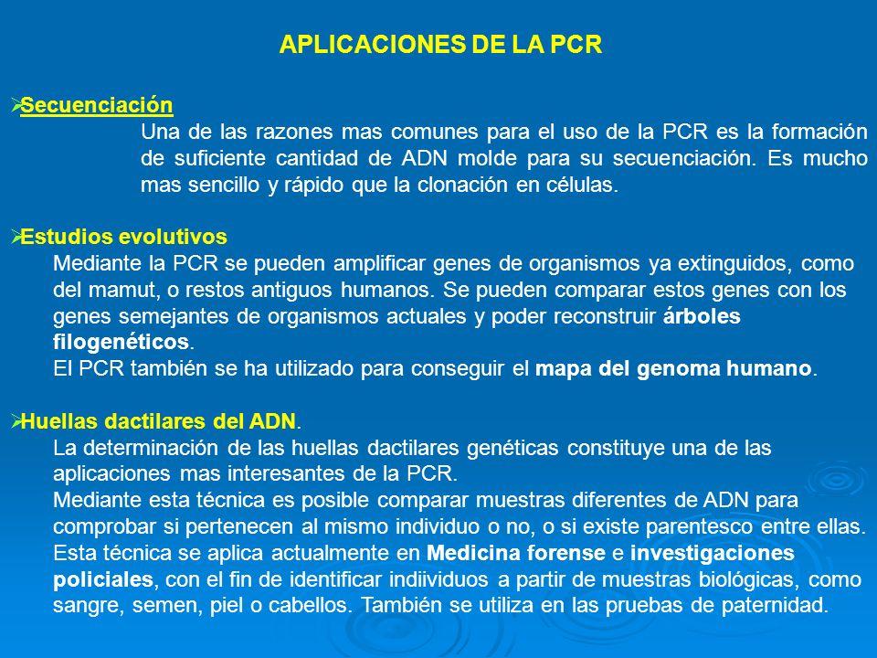 APLICACIONES DE LA PCR Secuenciación