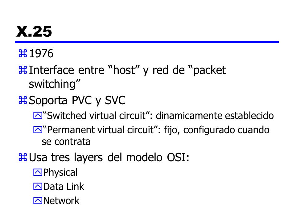 X.25 1976 Interface entre host y red de packet switching