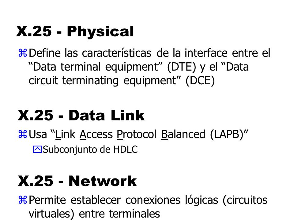 X.25 - Physical X.25 - Data Link X.25 - Network