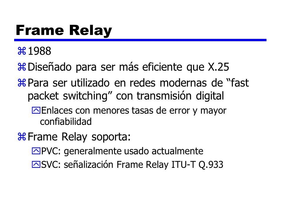 Frame Relay 1988 Diseñado para ser más eficiente que X.25