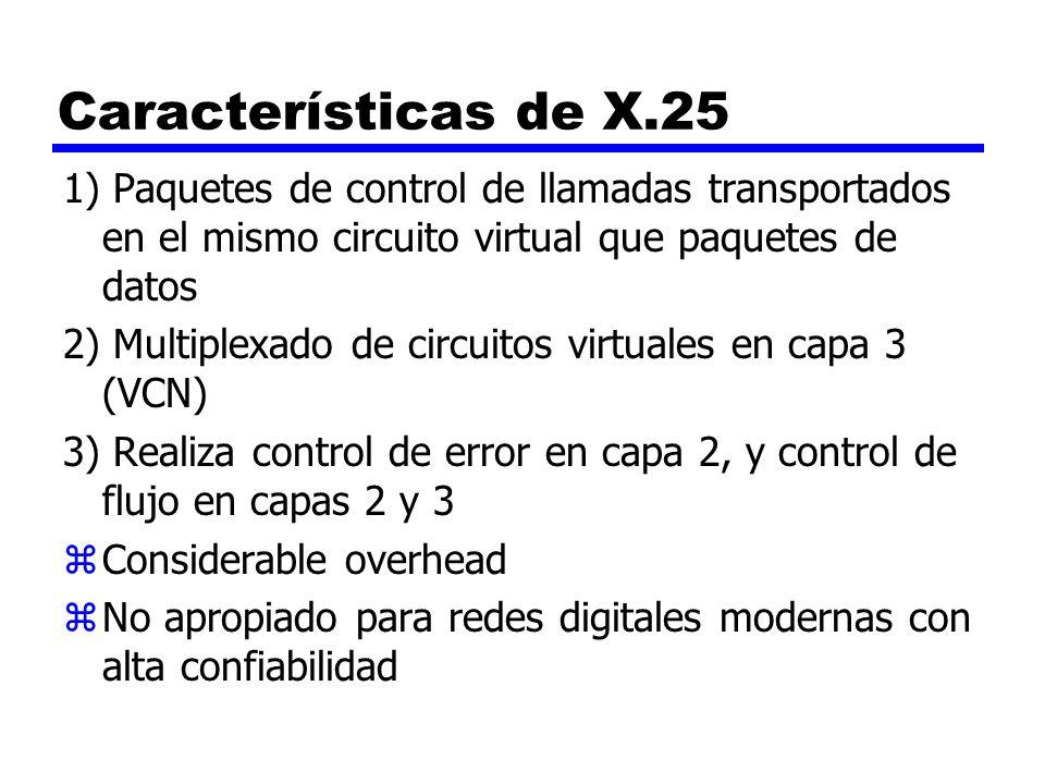 Características de X.25 1) Paquetes de control de llamadas transportados en el mismo circuito virtual que paquetes de datos.