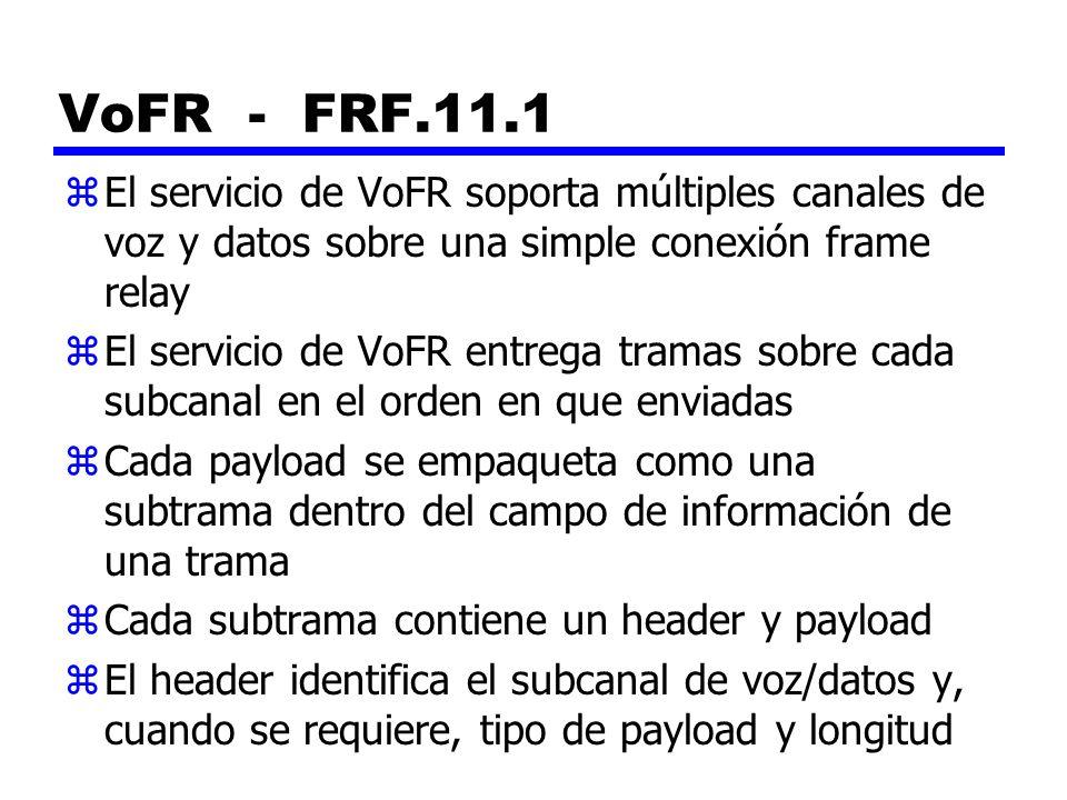 VoFR - FRF.11.1 El servicio de VoFR soporta múltiples canales de voz y datos sobre una simple conexión frame relay.