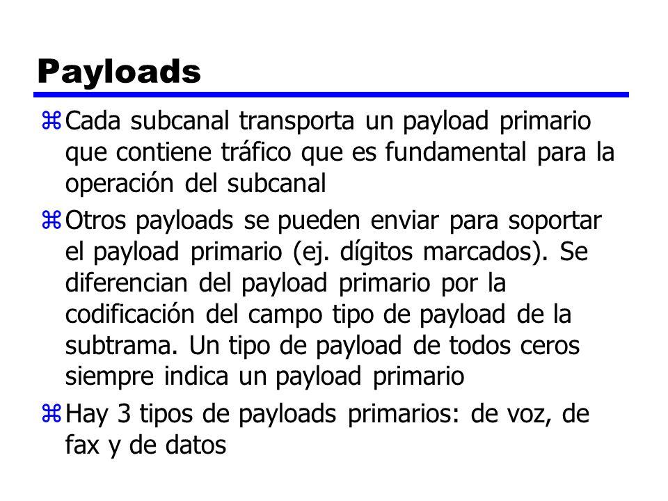 Payloads Cada subcanal transporta un payload primario que contiene tráfico que es fundamental para la operación del subcanal.