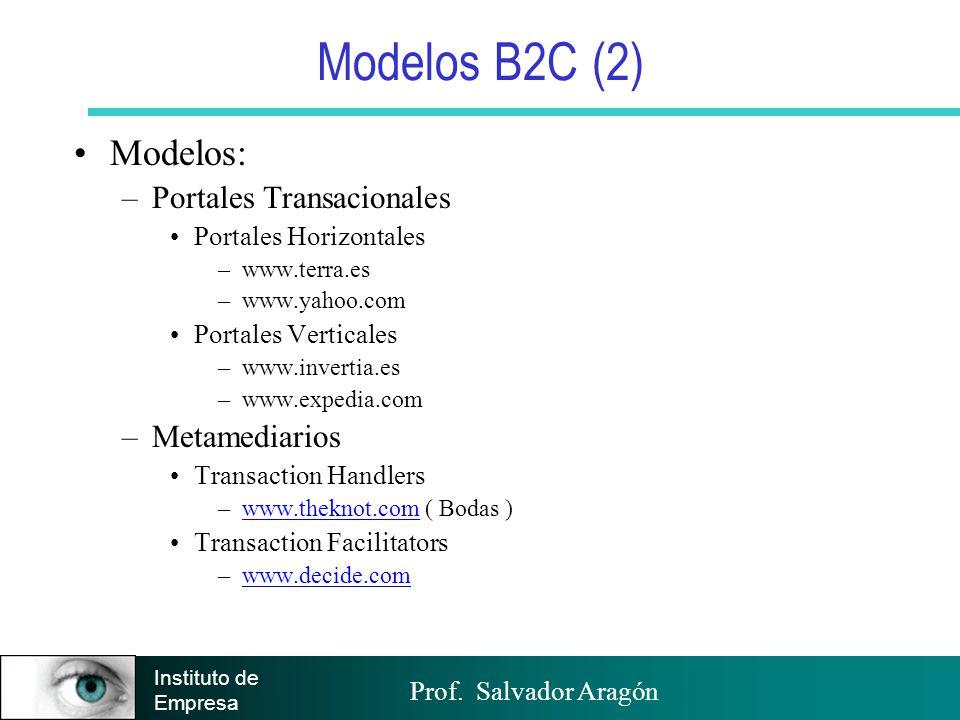 Modelos B2C (2) Modelos: Portales Transacionales Metamediarios