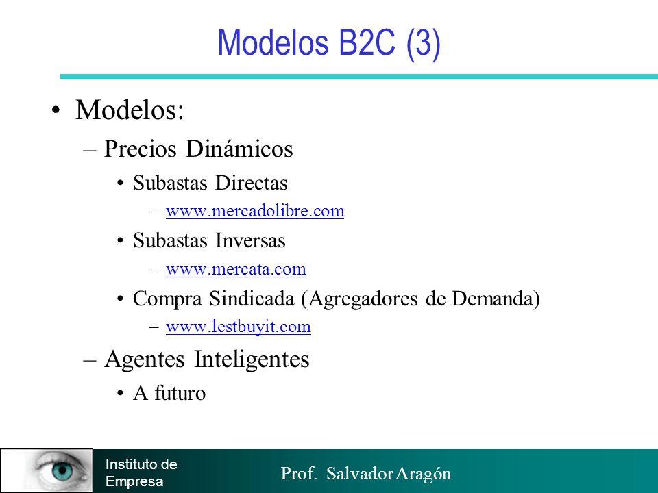 Modelos B2C (3) Modelos: Precios Dinámicos Agentes Inteligentes