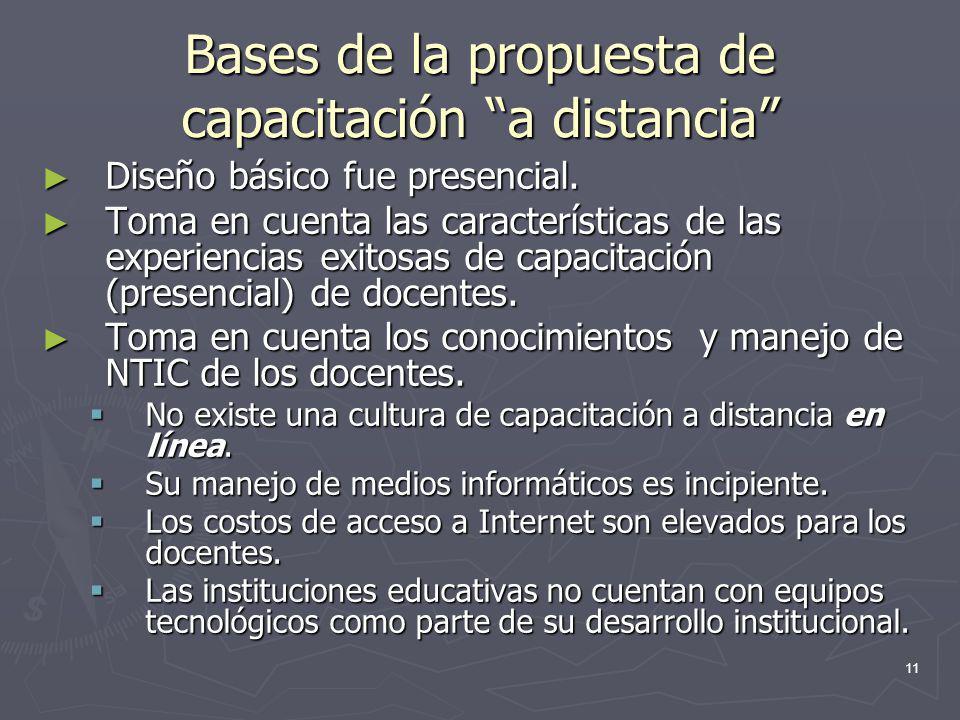 Bases de la propuesta de capacitación a distancia