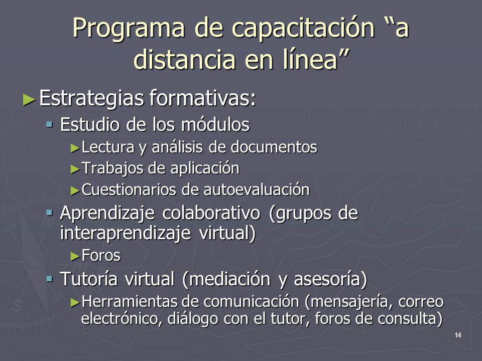 Programa de capacitación a distancia en línea