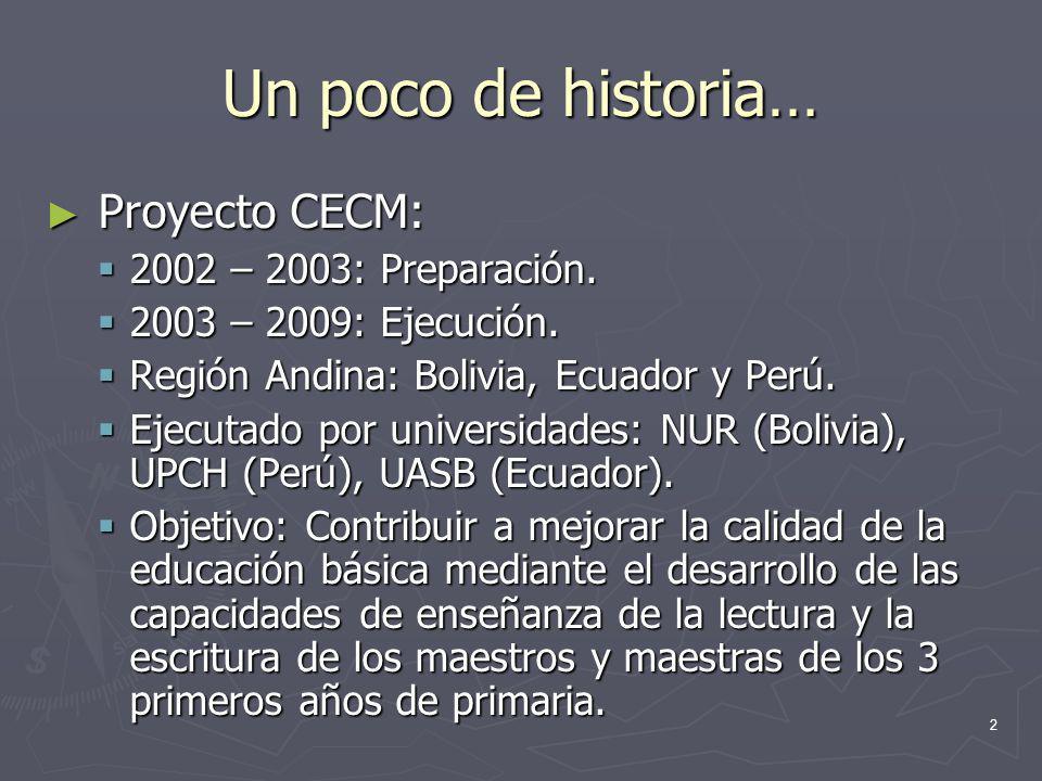 Un poco de historia… Proyecto CECM: 2002 – 2003: Preparación.