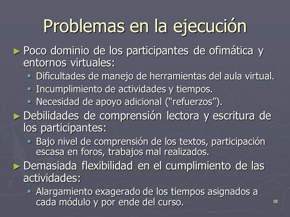 Problemas en la ejecución