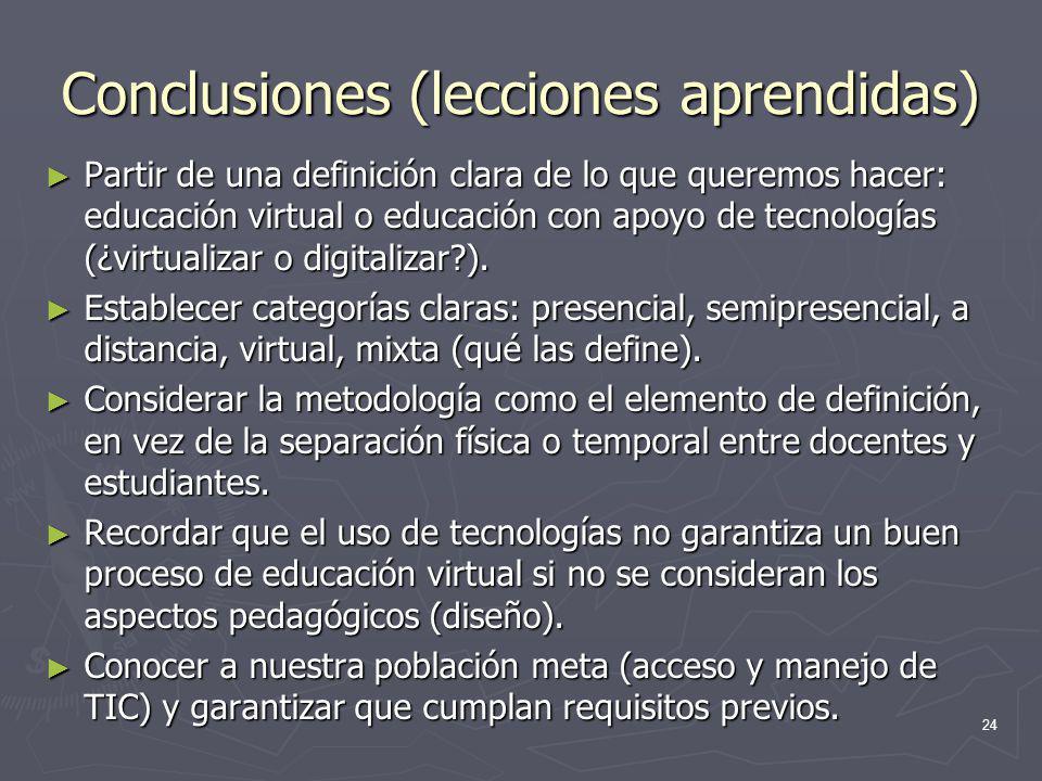 Conclusiones (lecciones aprendidas)