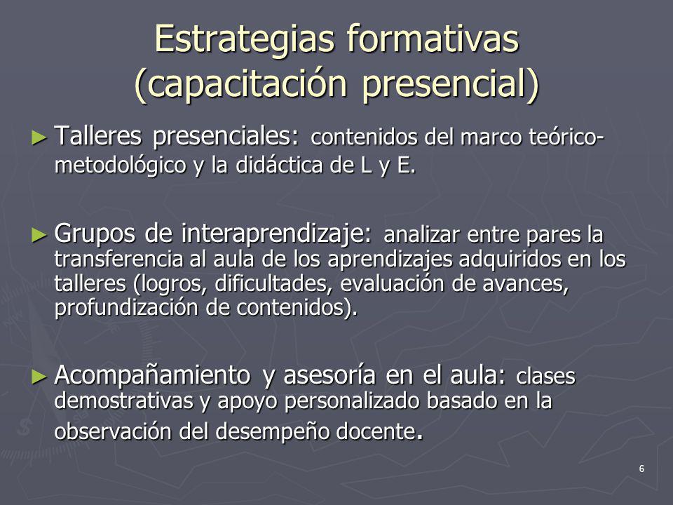 Estrategias formativas (capacitación presencial)