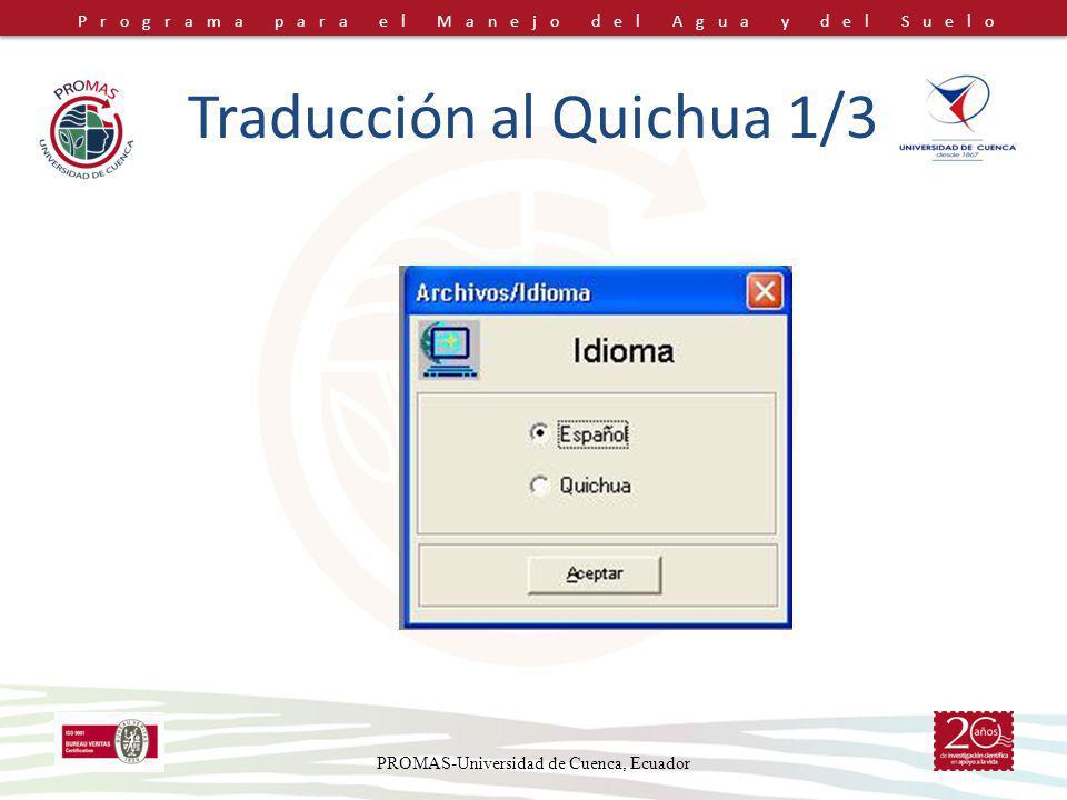 Traducción al Quichua 1/3