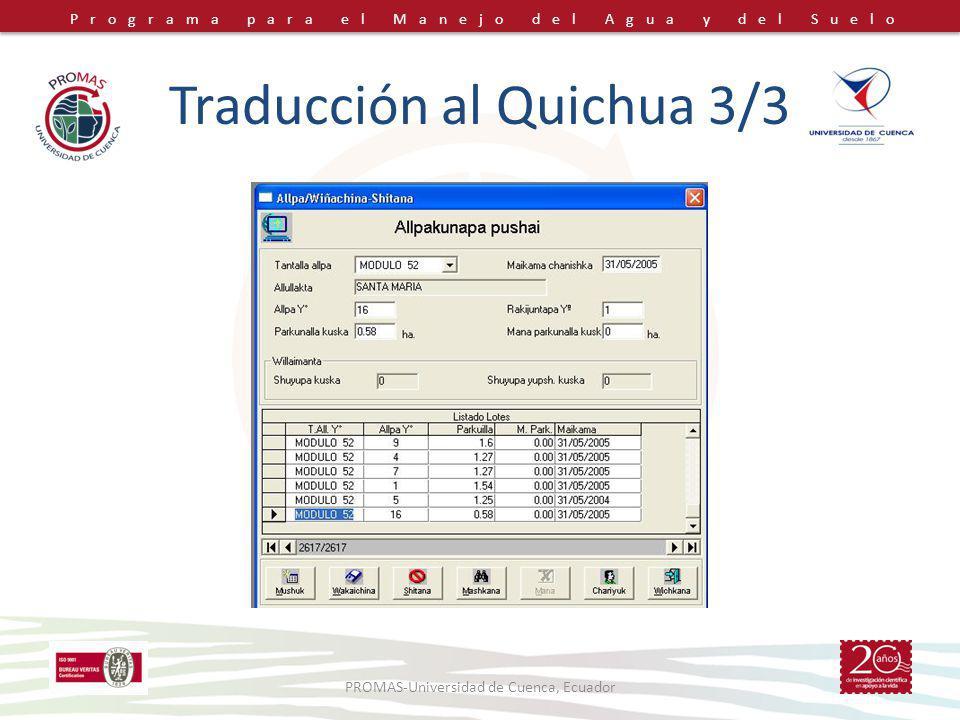 Traducción al Quichua 3/3