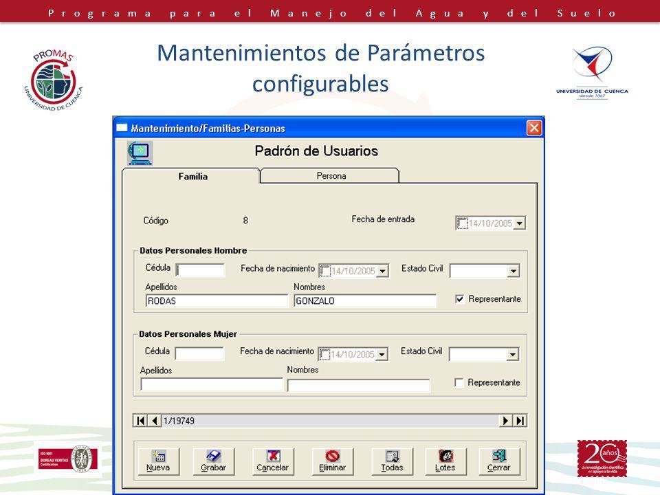 Mantenimientos de Parámetros configurables