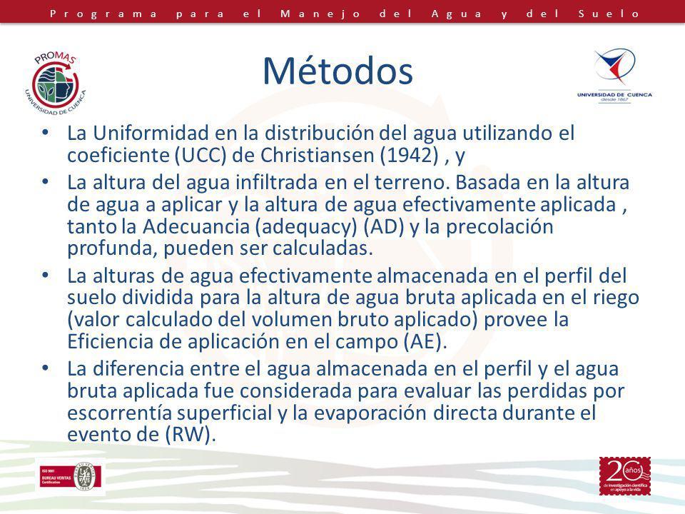 Métodos La Uniformidad en la distribución del agua utilizando el coeficiente (UCC) de Christiansen (1942) , y.
