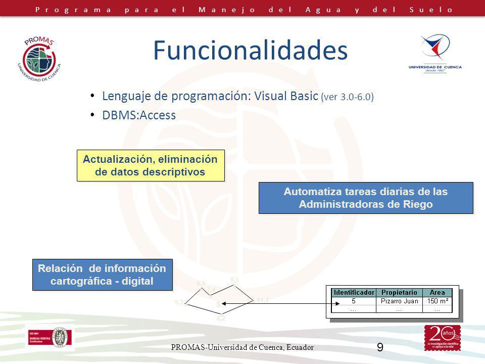 Funcionalidades . Lenguaje de programación: Visual Basic (ver 3.0-6.0)