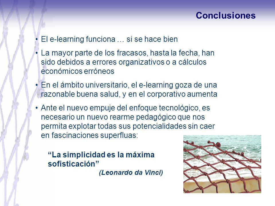 Conclusiones El e-learning funciona … si se hace bien