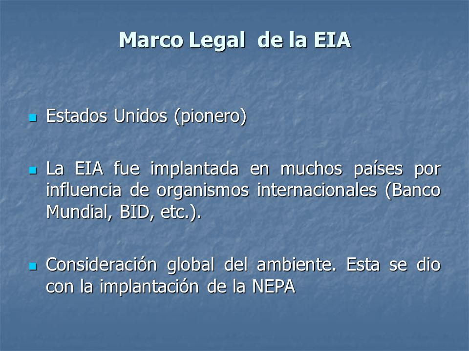 Marco Legal de la EIA Estados Unidos (pionero)