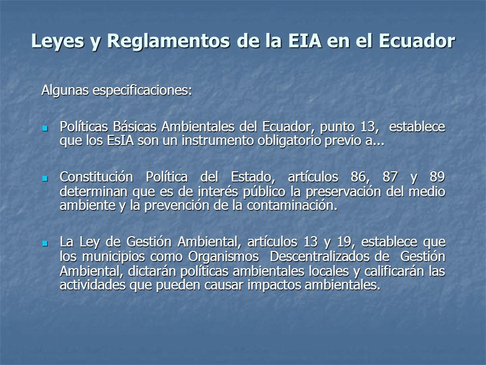 Leyes y Reglamentos de la EIA en el Ecuador