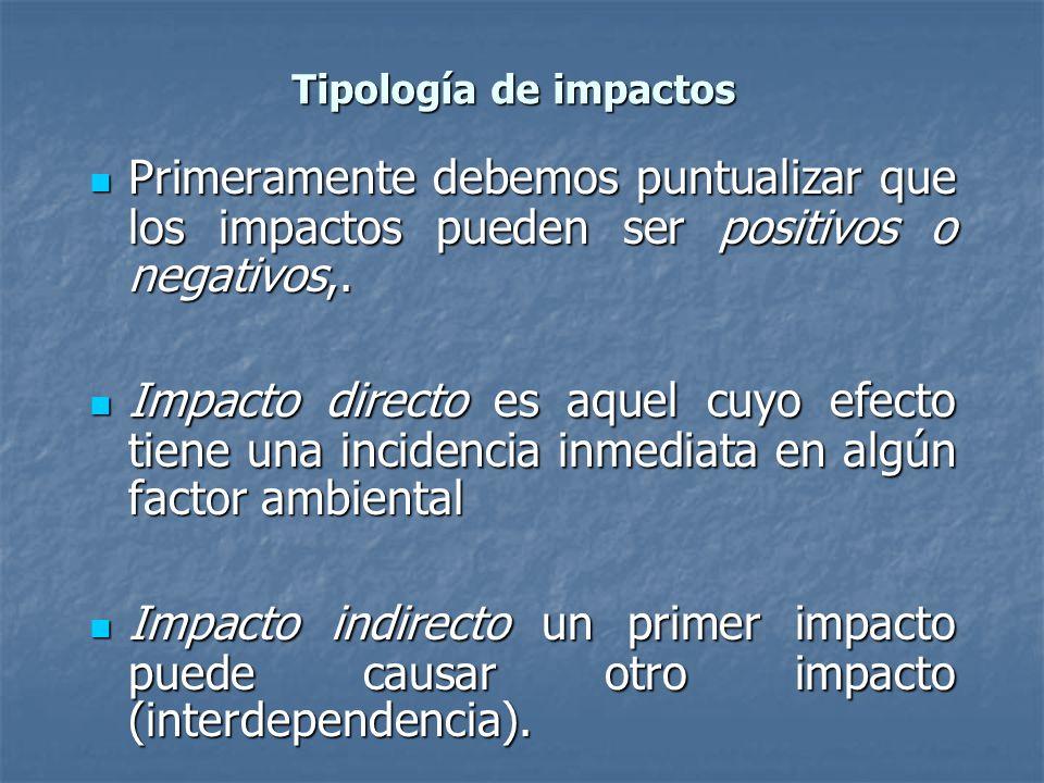 Tipología de impactos Primeramente debemos puntualizar que los impactos pueden ser positivos o negativos,.