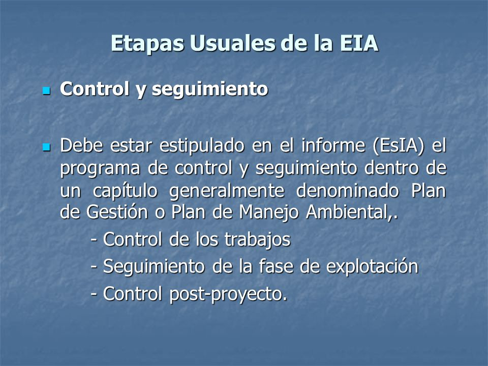 Etapas Usuales de la EIA