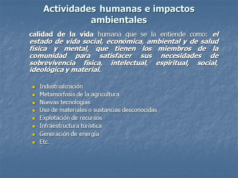Actividades humanas e impactos ambientales