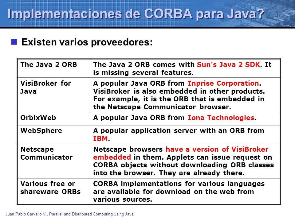 Implementaciones de CORBA para Java