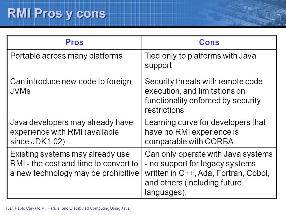 RMI Pros y cons Pros Cons Portable across many platforms