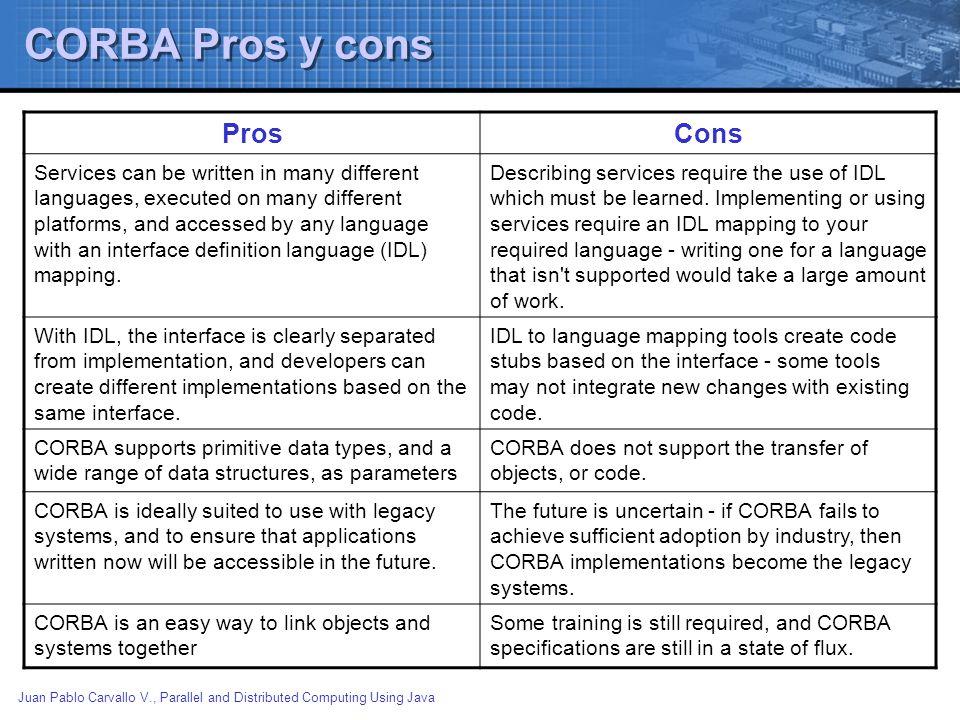 CORBA Pros y cons Pros Cons