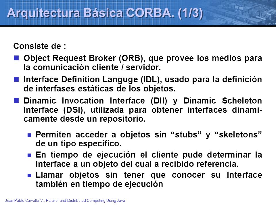 Arquitectura Básica CORBA. (1/3)