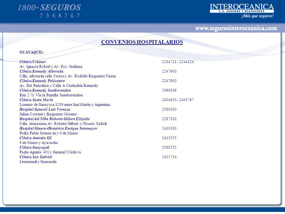 CONVENIOS HOSPITALARIOS