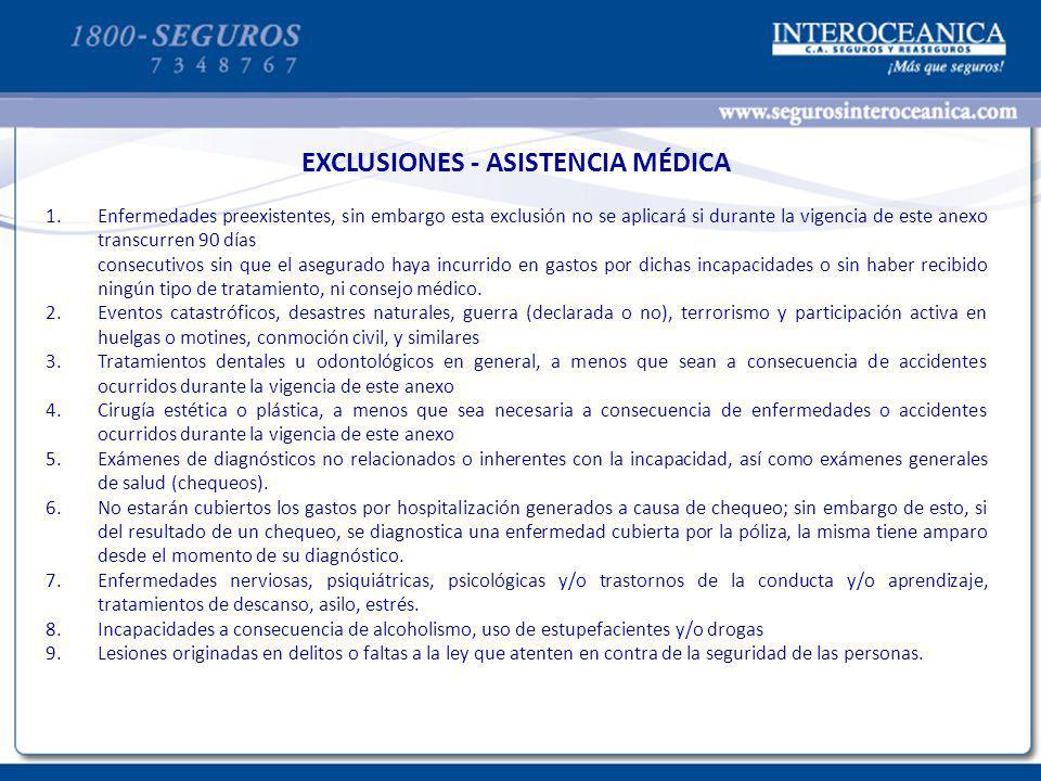 EXCLUSIONES - ASISTENCIA MÉDICA
