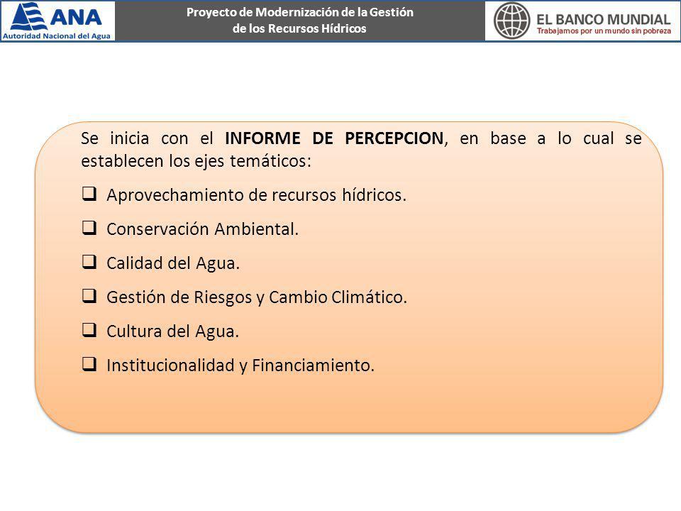 Se inicia con el INFORME DE PERCEPCION, en base a lo cual se establecen los ejes temáticos: