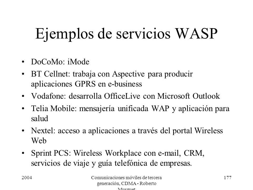 Ejemplos de servicios WASP