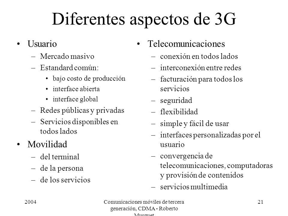 Diferentes aspectos de 3G